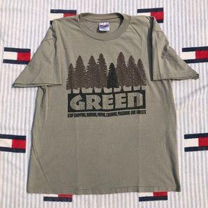 Vintage green nature trees short sleeve shirt